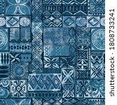 hawaiian style blue tapa tribal ... | Shutterstock .eps vector #1808733241