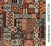 hawaiian style tapa tribal... | Shutterstock .eps vector #1808737234