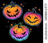 set of bright pumpkins for... | Shutterstock .eps vector #1808811577
