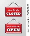 open and closed signs vector... | Shutterstock .eps vector #180882821