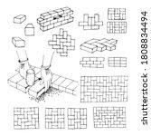 subway tiles or bricks. working ... | Shutterstock .eps vector #1808834494