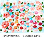 red and pink abstract flowers ... | Shutterstock . vector #1808861341