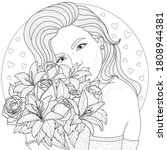 girl holding a bouquet of... | Shutterstock .eps vector #1808944381