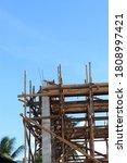 Small photo of Site construction left corner side vim concrete structured progress