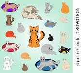 20 cartoon cats. 20 cheerful... | Shutterstock .eps vector #180901805