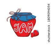 strawberry jam jar.  hand drawn ... | Shutterstock .eps vector #1809094054