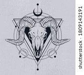 ram skull outline with... | Shutterstock .eps vector #1809143191