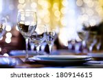served table in a restaurant at ... | Shutterstock . vector #180914615