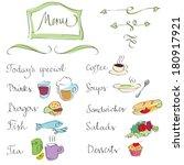 hand drawn menu design elements ... | Shutterstock .eps vector #180917921