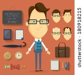 teacher cartoon character... | Shutterstock .eps vector #180918215
