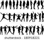 silhouettes of women  | Shutterstock .eps vector #180918221