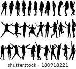 silhouettes of women  | Shutterstock .eps vector #180918221