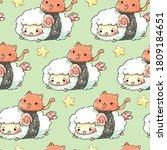 Seamless Pattern Sheep Sushi...