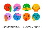 round abstract comic faces with ... | Shutterstock .eps vector #1809197044