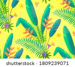 hand drawn green tropical... | Shutterstock . vector #1809239071