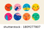 Abstract Round Comic Faces With ...