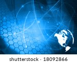 america map technology style... | Shutterstock . vector #18092866
