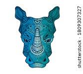 Rhino Head With Ornament. Retro ...