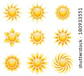 yellow sun icons isolated on... | Shutterstock . vector #180933551