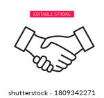 business handshake line icon.... | Shutterstock .eps vector #1809342271