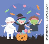 happy halloween  costume... | Shutterstock .eps vector #1809362644