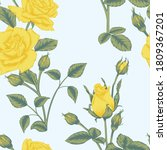 seamless yellow rose and rose... | Shutterstock .eps vector #1809367201