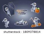 set of halloween mummy stickers ... | Shutterstock .eps vector #1809378814