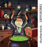 the wizard makes a magic potion ... | Shutterstock .eps vector #1809383881