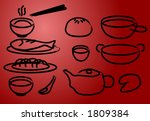 chinese cuisine icons  done in... | Shutterstock .eps vector #1809384