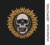 sunflower skull illustration... | Shutterstock .eps vector #1809427681