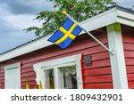 Close Up Photo Of Swedish Flag...