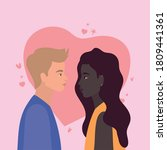 couple of black woman and blond ... | Shutterstock .eps vector #1809441361