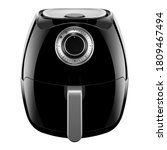 Analog Hot Air Fryer Isolated on White. Black Electric Deep Fryer with 8 Pre-Sets. Modern Oilless Cooker Front View. Domestic & Kitchen Small Appliances. 1700 Watts Convection Oven
