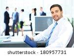 portrait of smiling businessman ...   Shutterstock . vector #180957731
