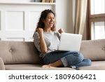 Woman Sit On Sofa Put Pc On Lap ...