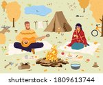 happy people at autumn vacation.... | Shutterstock .eps vector #1809613744