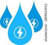 hydro energy drops icon. flat...