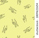 peace hands on yellow background | Shutterstock . vector #1809622654