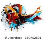 floral graffiti | Shutterstock .eps vector #180962801