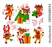 set of cute christmas bulls.... | Shutterstock .eps vector #1809688054