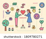 donation icons and characters... | Shutterstock .eps vector #1809780271