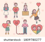 cute characters are holding... | Shutterstock .eps vector #1809780277