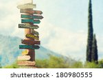 direction to different places... | Shutterstock . vector #180980555