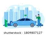 modern electric eco auto car...   Shutterstock . vector #1809807127