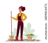 young woman with a shovel and ...