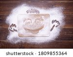 Merry Face Is Painted On Flour...