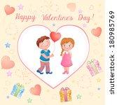 valentine's day illustration... | Shutterstock . vector #180985769