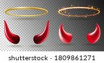 angel rings and devil horns.... | Shutterstock .eps vector #1809861271