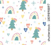 christmas seamless pattern with ... | Shutterstock .eps vector #1809898897