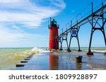 Lighthouse On Lake Michigan On...